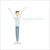 El control emocionado del hombre de negocios da encima de los brazos aumentados, éxito de Full Length Winner del hombre de negoci ilustración del vector