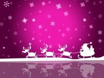 El copo de nieve rosado indica al padre Xmas And Celebration Imagen de archivo