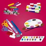 El Copybook, la pluma, el lápiz y el otro equipo Fotos de archivo libres de regalías