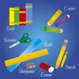 El Copybook, la pluma, el lápiz y el otro equipo Imagen de archivo libre de regalías