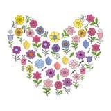 El corazón abstracto hizo de diversas flores de la primavera Elementos individuales aislados en un fondo blanco imagen de archivo
