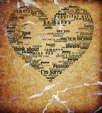 El corazón aislado vendimia del amor redacta la dimensión de una variable textured stock de ilustración