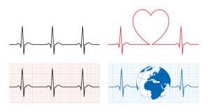 El corazón con el ecg y la tierra con el ekg alinean Imagen de archivo