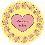El corazón con la inscripción todo lo que usted necesita es amor en la ronda stock de ilustración