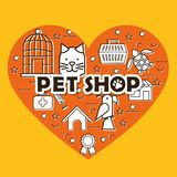 El corazón con la tienda de animales fijó iconos stock de ilustración