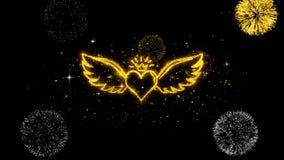 El corazón con las alas del ángulo forma partículas de oro del centelleo con la exhibición de oro de los fuegos artificiales stock de ilustración