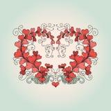 El corazón consiste en corazones en estilo del zentangle stock de ilustración