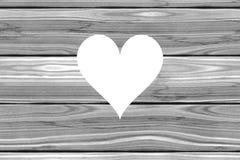 El corazón cortó de imagen de fondo acogedora rural rústica de los tablones de madera grises ilustración del vector