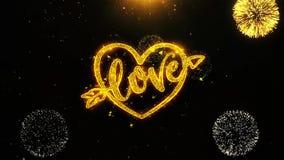 El corazón día de San Valentín del amor desea la tarjeta de felicitaciones, invitación, fuego artificial de la celebración coloca libre illustration