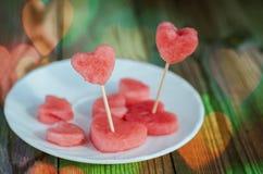 El corazón de la sandía Imagen de archivo libre de regalías
