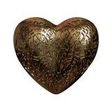 el corazón de la tarjeta del día de San Valentín brillante de oro del ornamento 3D Imágenes de archivo libres de regalías