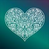 El corazón de la tarjeta del día de San Valentín del ornamento del vector Foto de archivo libre de regalías