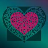 El corazón de la tarjeta del día de San Valentín del ornamento del vector Fotografía de archivo