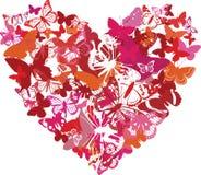 El corazón de la tarjeta del día de San Valentín se hace de mariposas Foto de archivo libre de regalías