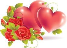 El corazón de los pares con se levantó Imagen de archivo