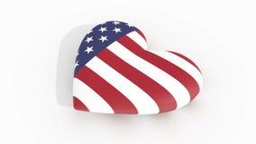 El corazón de pulsación en los E.E.U.U. señala los colores por medio de una bandera que echan una sombra en una superficie blanca stock de ilustración