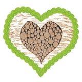 El corazón del árbol de abedul con el marco del tilo hojea Imagen de archivo libre de regalías