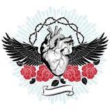 El corazón del amante desafortunado, volando en las alas de la desesperación, bordadas con las rosas rojas sangre y los troncos c ilustración del vector