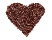 El corazón del café en el blanco aisló el fondo Fotos de archivo libres de regalías