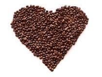 El corazón del café en el blanco aisló el fondo Imágenes de archivo libres de regalías