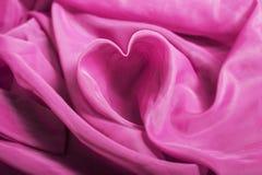El corazón del paño de seda Fotos de archivo