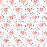 El corazón dibujado mano del amor del bordado cose el modelo inconsútil del vector Puntada cruzada libre illustration