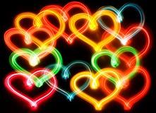 El corazón enciende el fondo Foto de archivo libre de regalías
