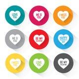 El corazón fijó con los saludos - iconos coloridos del vector Fotografía de archivo libre de regalías