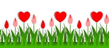 El corazón florece la frontera Imagenes de archivo