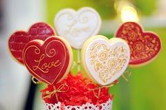 El corazón forma las tortas dulces Fotos de archivo libres de regalías