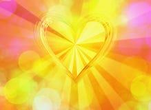 el corazón grande del oro 3d con el sol irradia fondos Foto de archivo libre de regalías