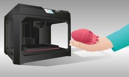 El corazón impreso en una impresora 3d Imagen de archivo