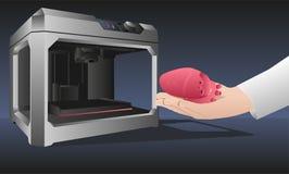 El corazón impreso en una impresora 3d Imágenes de archivo libres de regalías