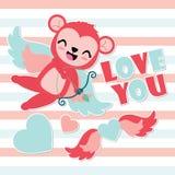 El corazón lindo del tiro al arco del mono del cupido se va volando el ejemplo de la historieta para el diseño de tarjeta feliz d Imagen de archivo libre de regalías