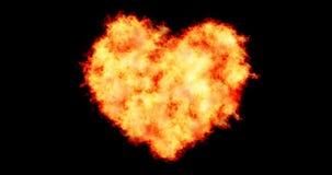 El corazón llenó hecho quemando las llamas en fondo negro de las partículas del fuego, de día de San Valentín del día de fiesta y stock de ilustración