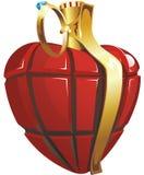 El corazón parece la granada. Itâs un símbolo del amor. Stock de ilustración