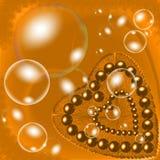 El corazón peludo de oro con los beeds y las burbujas que tienen el ejemplo e imagen generados por ordenador del efecto luminoso  libre illustration