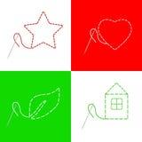 El corazón rojo de la casa del hilo de la aguja de costura protagoniza el ejemplo verde del marco de la hoja Imagenes de archivo
