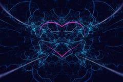 El corazón rojo generado por ordenador abstracto asombroso en llamas azules en altura detalló el fondo azul Hola res ilustración del vector
