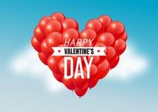 El corazón rojo hincha en cielo azul con el texto feliz del día de tarjetas del día de San Valentín, ejemplo del vector Imagen de archivo libre de regalías