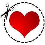 El corazón rojo y scissor Foto de archivo libre de regalías