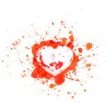El corazón sangriento en rojo salpica y se divierte - vector el ejemplo Foto de archivo
