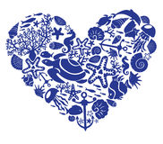 El corazón se hace de los pescados, korals stock de ilustración