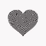 El corazón Valentine Day Puzzle del laberinto encuentra el negro de la manera en el blanco 2 Stock de ilustración