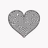 El corazón Valentine Day Puzzle del laberinto encuentra el negro de la manera en el blanco 1 Libre Illustration