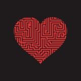 El corazón Valentine Day Puzzle del laberinto encuentra la manera roja en el negro 2 Stock de ilustración