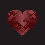 El corazón Valentine Day Puzzle del laberinto encuentra la manera roja en el negro 3 Stock de ilustración
