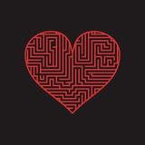 El corazón Valentine Day Puzzle del laberinto encuentra la manera roja en el negro 1 Libre Illustration