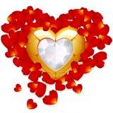 El corazón y el pétalo de oro de se levantaron Foto de archivo libre de regalías