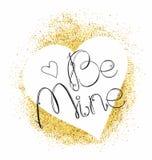 El corazón y las letras blancos estén el mío en fondo del brillo del oro Vect libre illustration